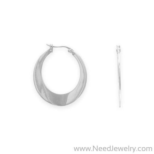 Polished Flat Hoop Earrings-Earrings-Needjewelry.com