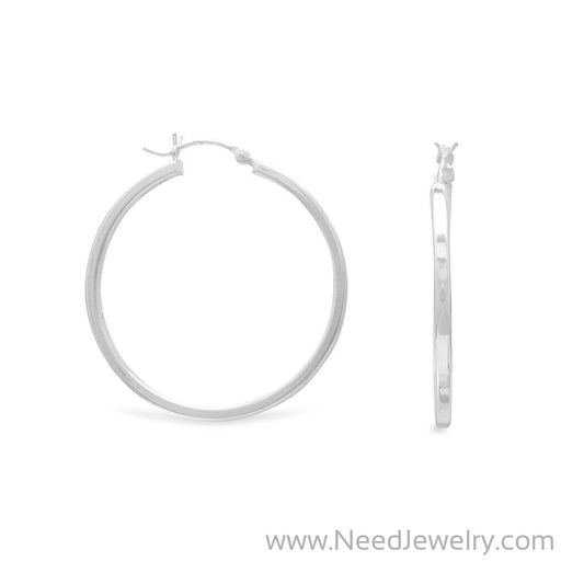 2mm x 35mm Square Tube Hoop Earrings-Earrings-Needjewelry.com
