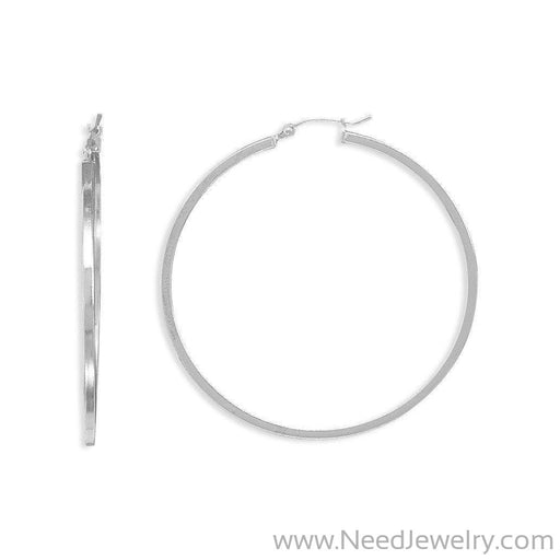 2mm x 50mm Square Hoop Earrings-Earrings-Needjewelry.com