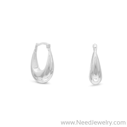 Polished Puffed Oval Hoop Earrings-Earrings-Needjewelry.com