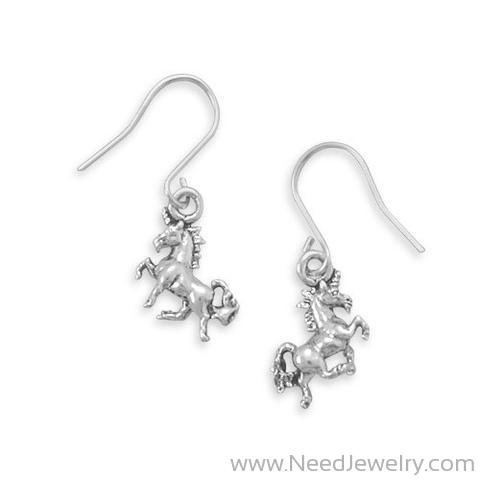 Pretty Prancing Unicorn French Wire Earrings-Earrings-Needjewelry.com
