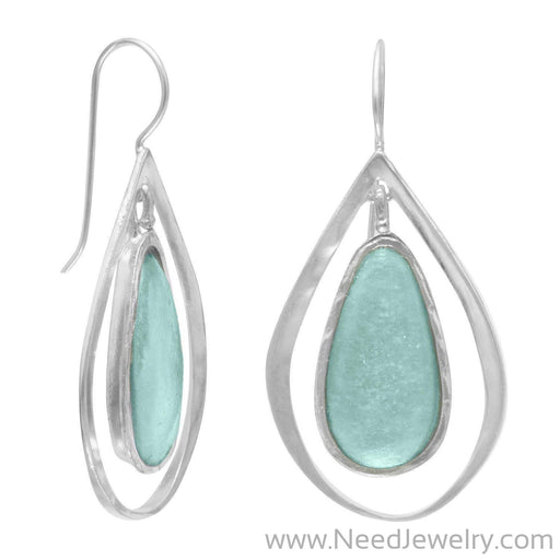Ancient Roman Glass and Cut Out Design Earrings on French Wire-Earrings-Needjewelry.com