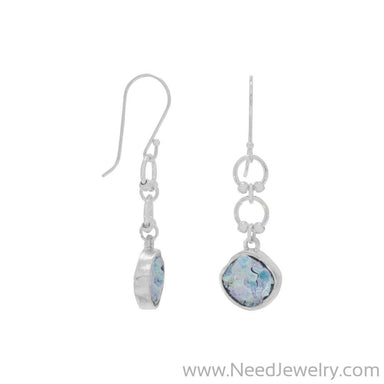 Ancient Roman Glass Drop Earrings on French Wire-Earrings-Needjewelry.com