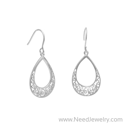 Tear Shape Filigree Design French Wire Earrings-Earrings-Needjewelry.com