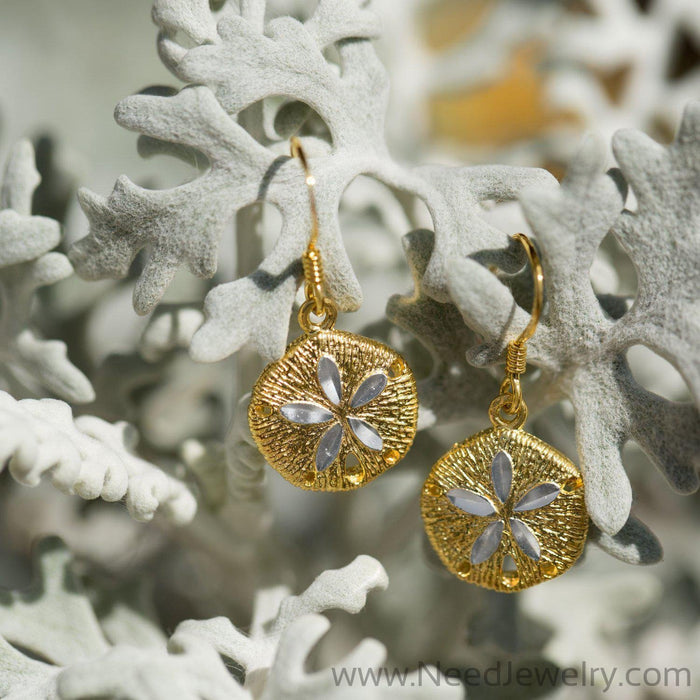14 Karat Gold Plated Sand Dollar French Wire Earrings-Earrings-Needjewelry.com