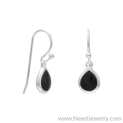 Pear Inlay Black Onyx French Wire Earrings-Earrings-Needjewelry.com