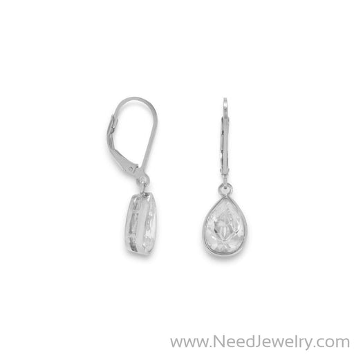Rhodium Plated CZ Drop Earrings-Earrings-Needjewelry.com