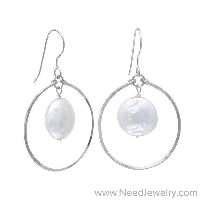 Open Circle French Wire Earrings with Coin Pearl Drop-Earrings-Needjewelry.com