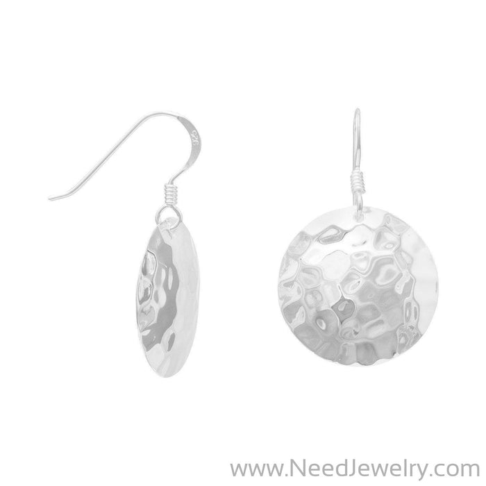 Round Hammered French Wire Earrings-Earrings-Needjewelry.com