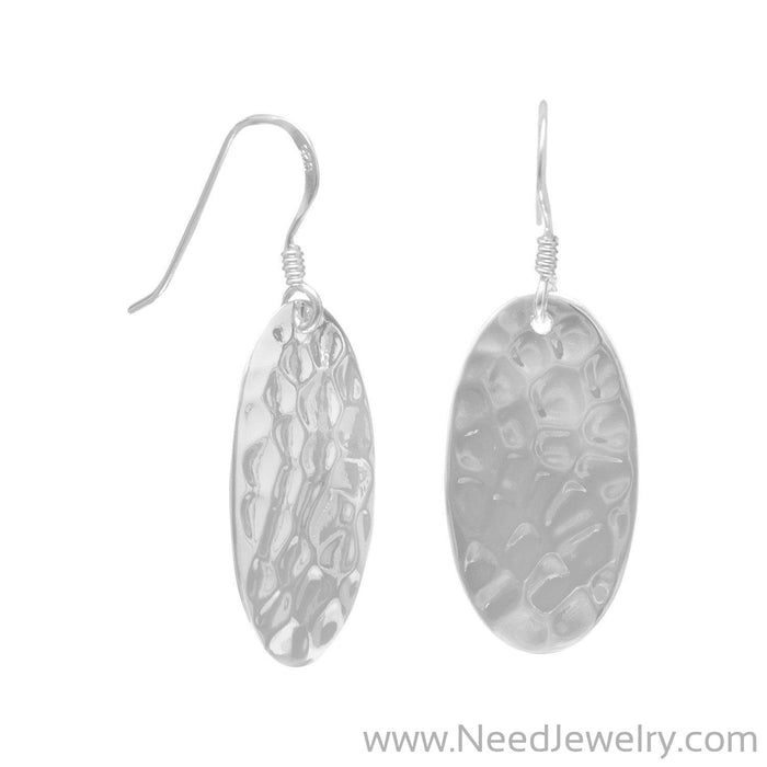 Large Oval Hammered French Wire Earrings-Earrings-Needjewelry.com