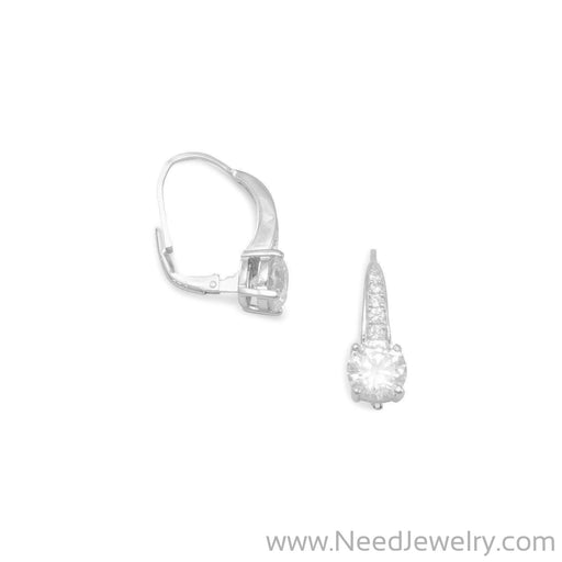Rhodium Plated Graduated CZ Lever Back Earrings-Earrings-Needjewelry.com