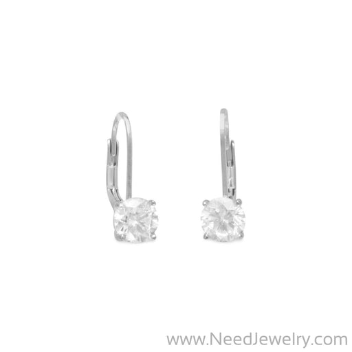 Rhodium Plated Lever Back CZ Earrings-Earrings-Needjewelry.com
