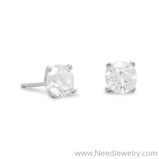 Rhodium Plated 6mm CZ Stud Earrings-Earrings-Needjewelry.com