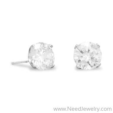 Rhodium Plated 8mm CZ Stud Earrings-Earrings-Needjewelry.com