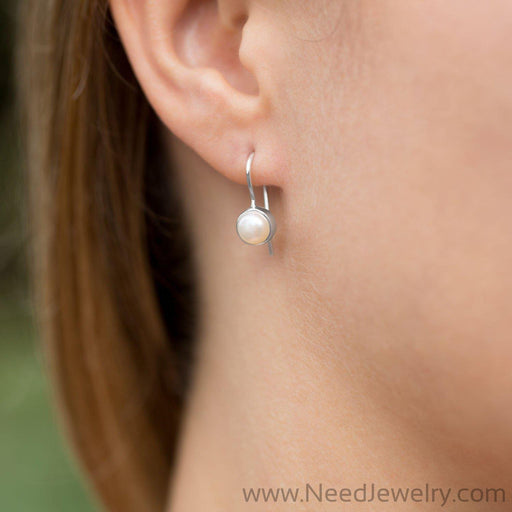 6mm White Cultured Freshwater Pearl Earrings on Euro Wire-Earrings-Needjewelry.com