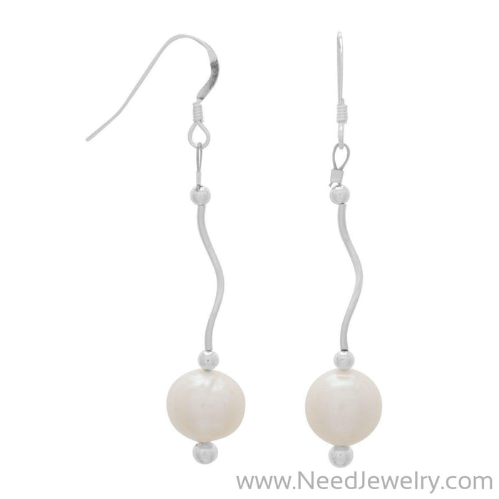 Wave Design Earrings with Cultured Freshwater Pearl Drop-Earrings-Needjewelry.com
