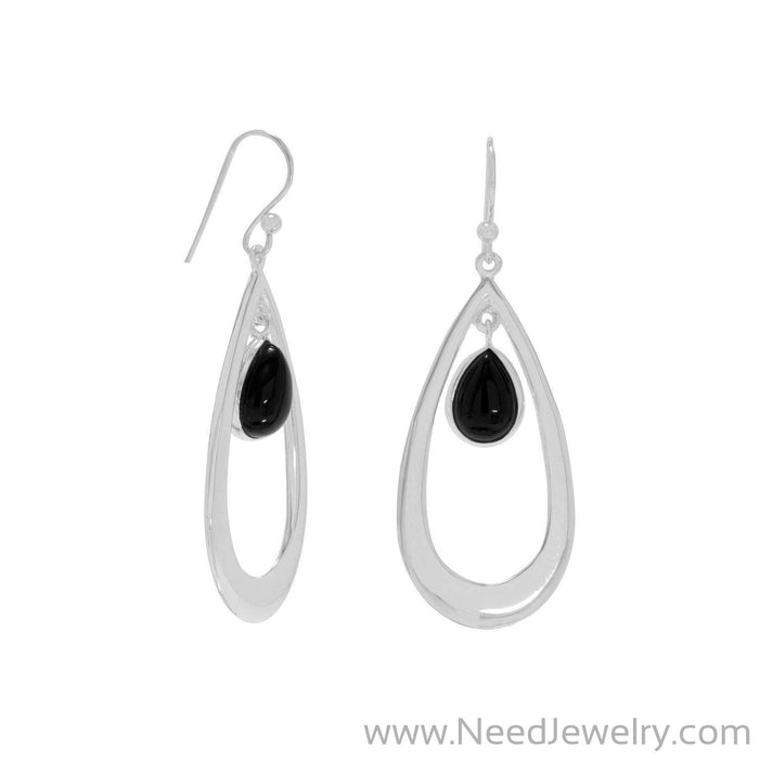 Polished French Wire Earrings with Black Onyx Drop-Earrings-Needjewelry.com