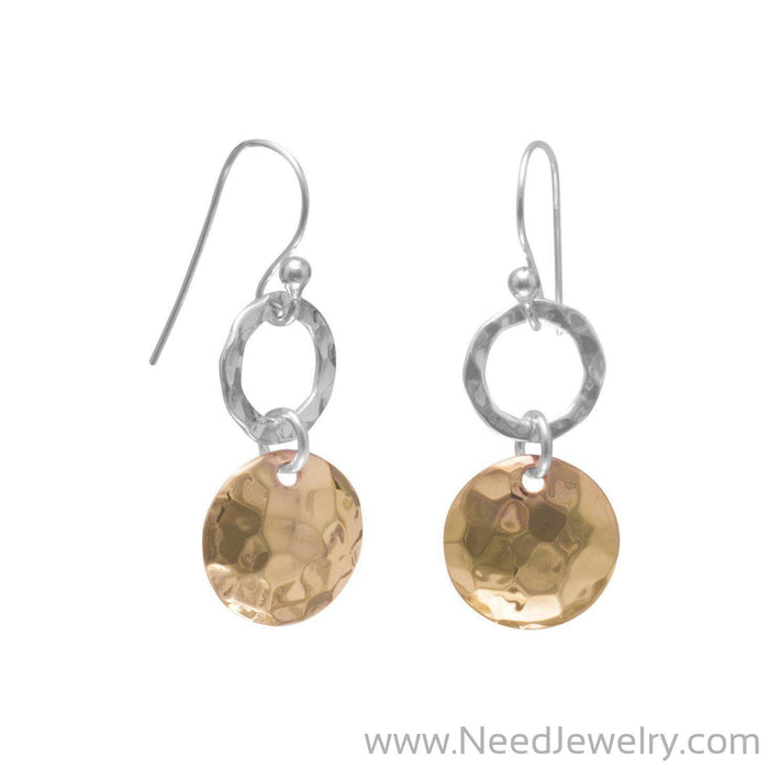 Sterling Silver and 14 Karat Rose Gold Plated French Wire Earrings-Earrings-Needjewelry.com