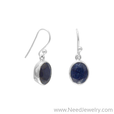 Oval Faceted Corundum Earrings-Earrings-Needjewelry.com