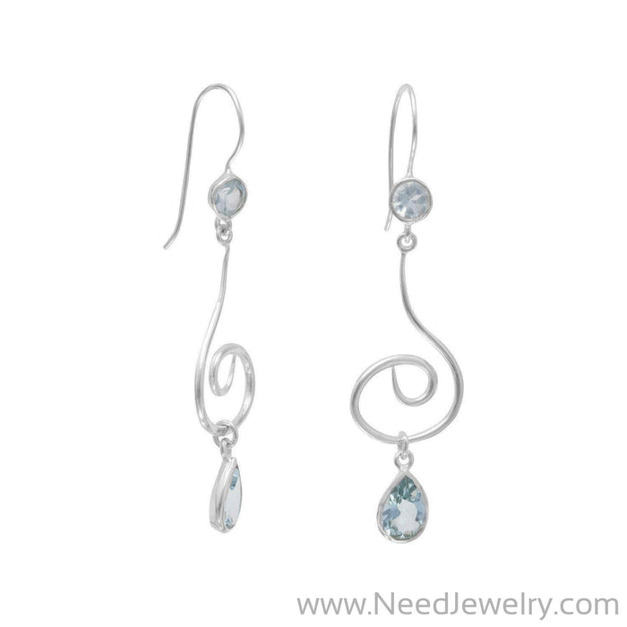 Swirl Design Earrings with Faceted Blue Topaz-Earrings-Needjewelry.com