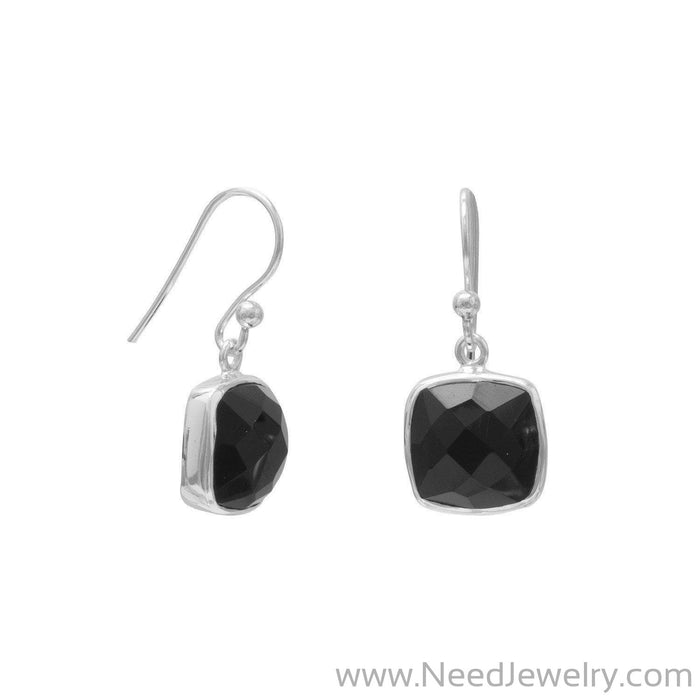 Faceted Black Onyx French Wire Earrings-Earrings-Needjewelry.com