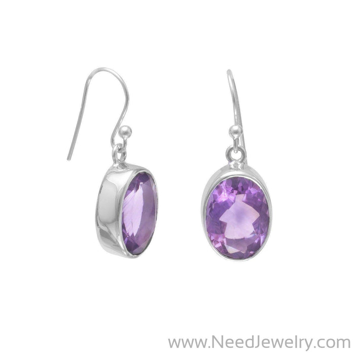 Faceted Amethyst French Wire Earrings-Earrings-Needjewelry.com