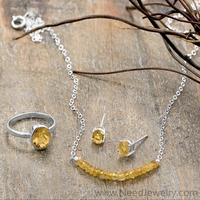 Oval Citrine Earrings-Earrings-Needjewelry.com