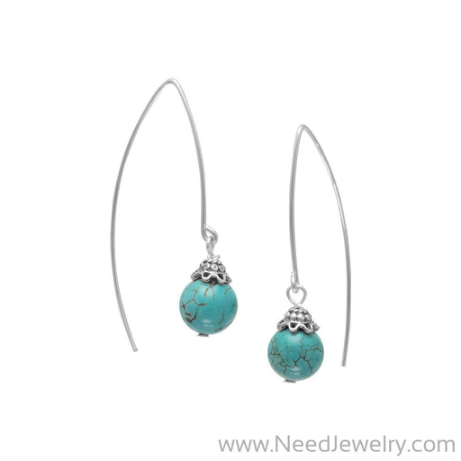 8mm Reconstituted Turquoise Bead Long Wire Earrings-Earrings-Needjewelry.com