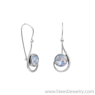 Hook Shape Earrings with Roman Glass-Earrings-Needjewelry.com