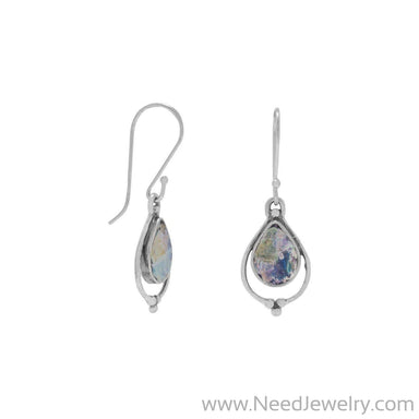 Pear Shape Roman Glass Earrings-Earrings-Needjewelry.com
