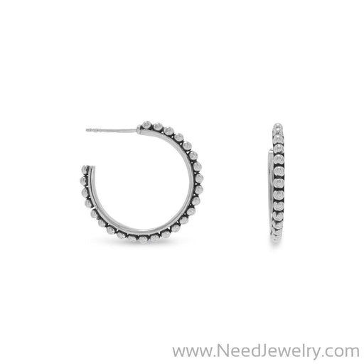 Oxidized Bead 3/4 Hoops-Earrings-Needjewelry.com