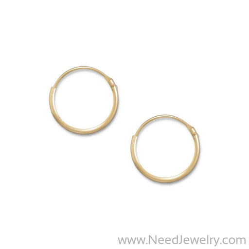 14/20 Gold Filled 1mm x 12mm Hoops-Earrings-Needjewelry.com