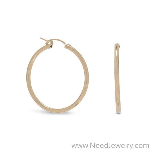 12/20 Gold Filled 2mm x 34mm Hoops-Earrings-Needjewelry.com