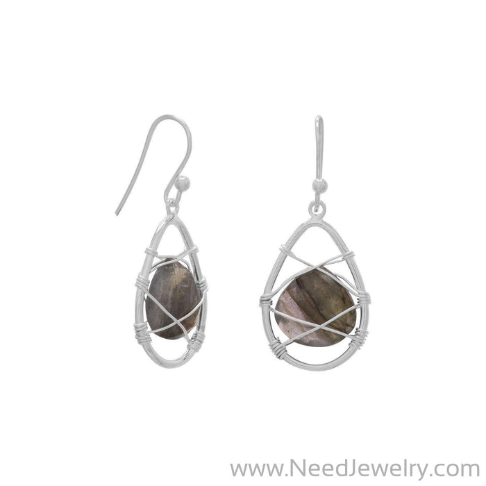 Wire Wrap Labradorite Earrings-Earrings-Needjewelry.com