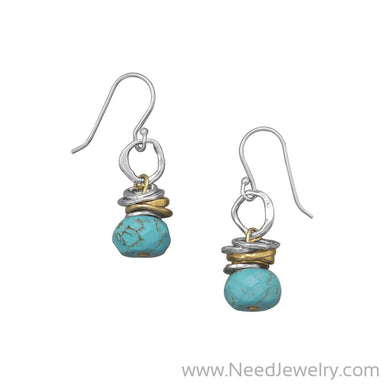 Two Tone Turquoise Drop Earrings-Earrings-Needjewelry.com