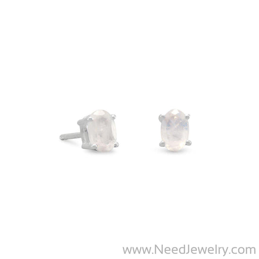 Rainbow Moonstone Stud Earrings-Earrings-Needjewelry.com