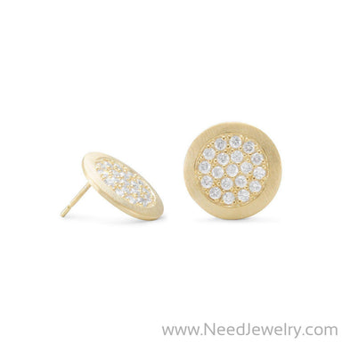 14 Karat Gold Plated Pave CZ Post Earrings-Earrings-Needjewelry.com