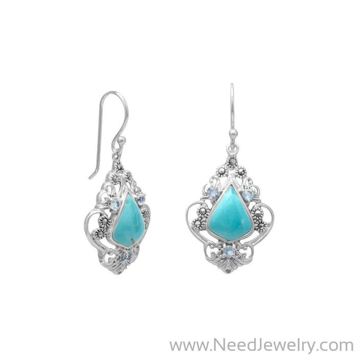 Reconstituted Turquoise, Blue Topaz and Marcasite Earrings-Earrings-Needjewelry.com