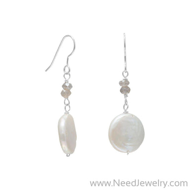 Baroque Pearl and Labradorite Drop Earrings-Earrings-Needjewelry.com