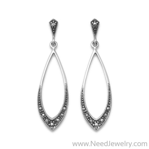 Marcasite Drop Earrings-Earrings-Needjewelry.com
