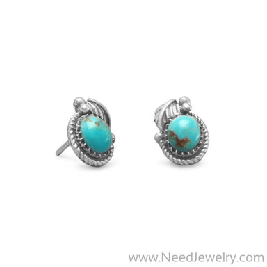 Southwest Style Reconstituted Turquoise Stud Earrings-Earrings-Needjewelry.com