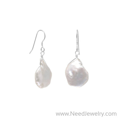 White Baroque Cultured Freshwater Pearl Earrings-Earrings-Needjewelry.com