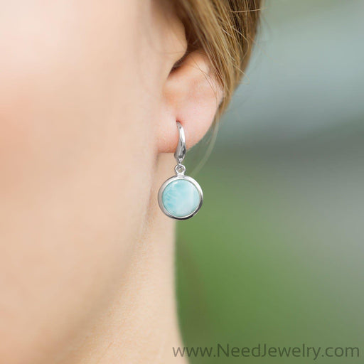 Rhodium Plated Larimar Drop Earrings-Earrings-Needjewelry.com