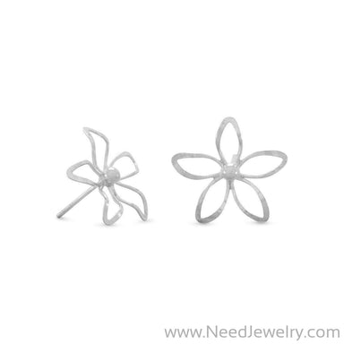 Diamond Cut Flower Post Earrings-Earrings-Needjewelry.com