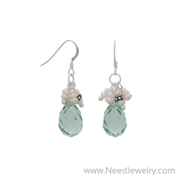 Handmade Earrings with Light Blue Crystal and Pearls-Earrings-Needjewelry.com