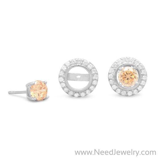 Rhodium Plated CZ Frame Earring Jackets. Pink CZ Stud Earrings Sold Separately.-Earrings-Needjewelry.com