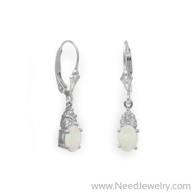 Rhodium Plated Australian Opal and White Topaz Earrings-Earrings-Needjewelry.com