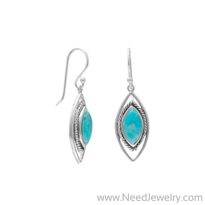 Oxidized Marquise Reconstituted Turquoise Earrings-Earrings-Needjewelry.com