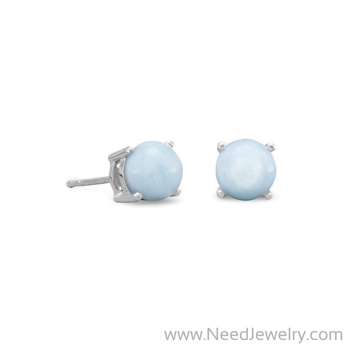Rhodium Plated Larimar Stud Earrings-Earrings-Needjewelry.com