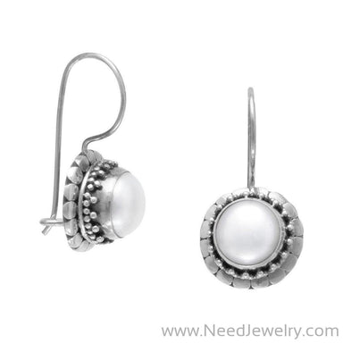 Oxidized Cultured Freshwater Pearl Earrings with Bali Edge-Earrings-Needjewelry.com